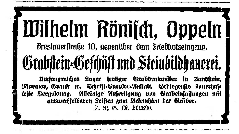 Rönisch Wilhelm, reklama 1909